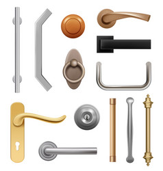 door handles 3d modern furniture wooden and metal vector image