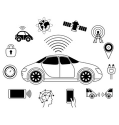 Driverless car graphic symbol self-driving vector