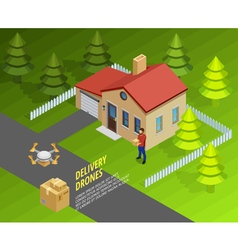 Drones delivery isometric template vector