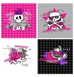 Emo banners suitable for t-shirt print vector image vector image