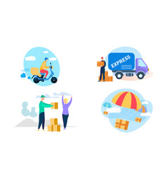 express delivery icon set on white background vector image