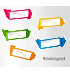 five origami banners vector image
