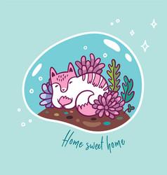 Floral terrarium with cute kawaii cat vector