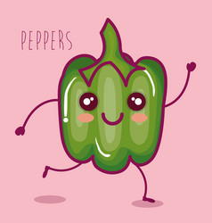 Fresh peppers vegetable character vector