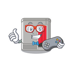 Gamer photo booth isolated with cartoon vector