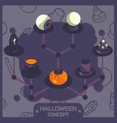 halloween color isometric concept icons vector image