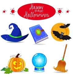 Halloween icon set elements collection vector