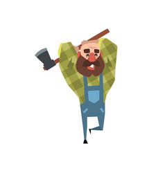 happy bearded lumberjack working with axe cartoon vector image