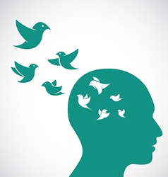 Head and birds vector image