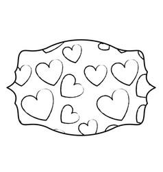 hearts inside label emblem sketch vector image