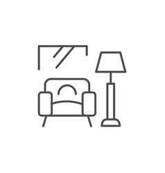 Home interior line outline icon vector