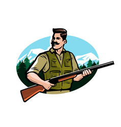 hunter holds shotgun in his hands hunting hunt vector image