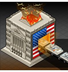 Isometric Stock Exchange Burning Dollars vector image