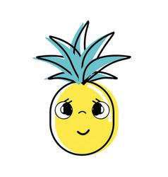 kawaii cute sad pineapple vegetable vector image