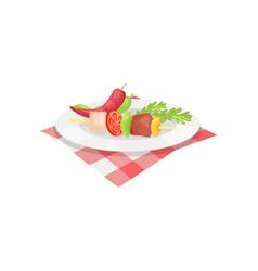 kebab on plate badge in cartoon style vector image