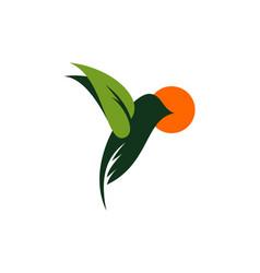 leaf green bird logo icon vector image
