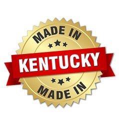 Made in kentucky gold badge with red ribbon vector