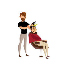 male hairdresser serving client professional hair vector image