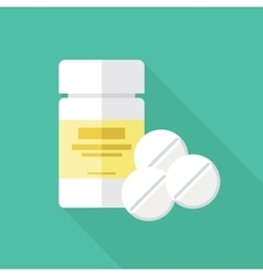 Medical packaging container and pills flat icon vector