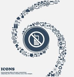 Mobile phone is prohibited icon sign in the center vector