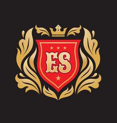 monogram e s initial letters - concept logo vector image