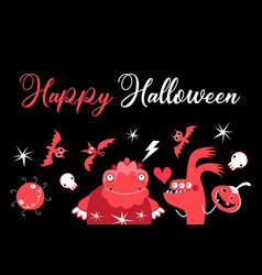monsters with bats and fire for halloween vector image
