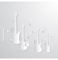 Music Background Guitars and Notes Made from Paper vector image