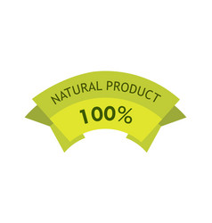 natural product 100 percent green tag - label for vector image