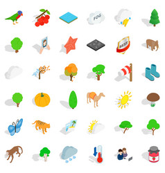 Nature scenery icons set isometric style vector