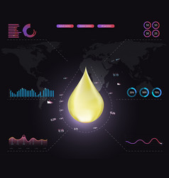 Oil drop on a black background graphics vector