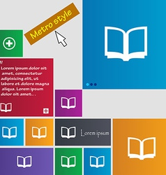 Open book icon sign Metro style buttons Modern vector