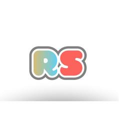 Orange pastel blue alphabet letter rs r s logo vector