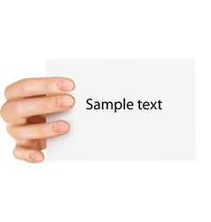 Paper card in hand vector