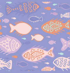 pink detailed fish doodles vector image