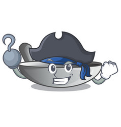 Pirate character kitchenware wok for cooking food vector
