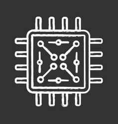 processor with electronic circuits chalk icon vector image