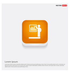 progress chart icon orange abstract web button vector image
