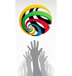 Raised hands Olympic globe icon vector