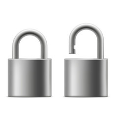 realistic 3d detailed chrome padlock set vector image