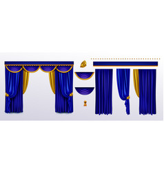 Realistic curtains set blue cloth with gold ties vector