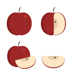 Red apple icons set in flat design vector