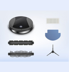 Robotic vacuum cleaner with spare parts vector