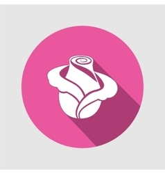 Rose flower icon Floral symbol Round circle flat vector
