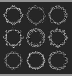 round calligraphy blackboard frames vector image