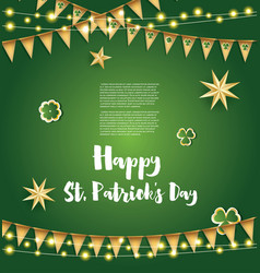 Saint patricks day background with golden flags vector