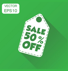 Sale 50 off hang tag icon business concept sale vector