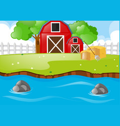 Scene with barns and river vector