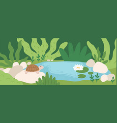 Scene with cute turtle sitting on stone near pond vector