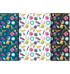 school supplies theme seamless pattern set vector image