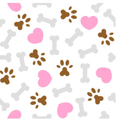 Seamless pattern i love dog theme bone and foot vector